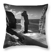 Sea Stacks At Castle Sinclair Girnigoe Throw Pillow