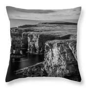 Sea Stacks, Yesnaby, Orkney, Scotland Throw Pillow