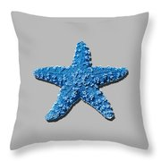 Sea Star Medium Blue .png Throw Pillow