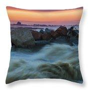 Sea Storm At Sunset Throw Pillow