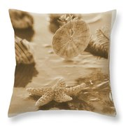 Sea Treasure -sepia Throw Pillow