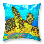 Sea Turtle And Parrotfish Throw Pillow