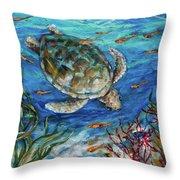 Sea Turtle Dive Throw Pillow