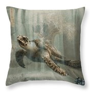 Sea Turtle Great Wave Throw Pillow