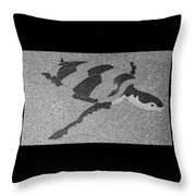Sea Turtle Inlay In Grayscale Throw Pillow