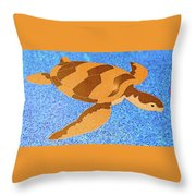 Sea Turtle Inlay In Vibrant Colors Throw Pillow