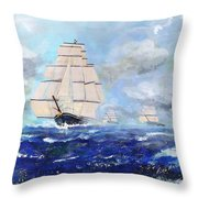 Sea Witch Leaving Port Throw Pillow