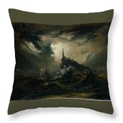 sea with Lighthouse Throw Pillow