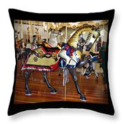 Seabreeze Carousel Armored Horse Throw Pillow