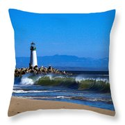 Seabright Beach Lighthouse With Surf Throw Pillow