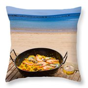 Seafood Paella In Cafe Throw Pillow