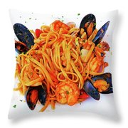 Seafood Pasta Throw Pillow