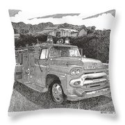 Seagrave Gmc Firetruck Throw Pillow