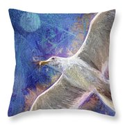 Seagull Against Blue Abstract Throw Pillow