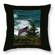 Seagull And Flag Throw Pillow