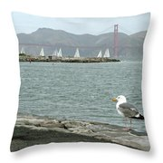 Seagull And Golden Gate Bridge Throw Pillow