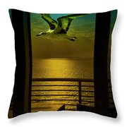 Seagull And Sunset Clouds Throw Pillow by Fernando Cruz