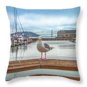 Seagull At Pier 39 Throw Pillow