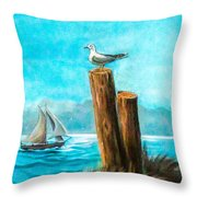 Seagull At Port Entrance Throw Pillow
