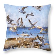 Seagull Convention Throw Pillow