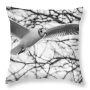 Seagull Fly By Trees Throw Pillow