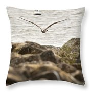 Seagull Flying Into Ocean Jetty Throw Pillow