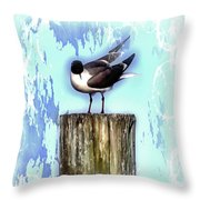 Seagull - Laughing Gull Pop Art  Throw Pillow