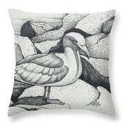 Seagull On Rocks Throw Pillow