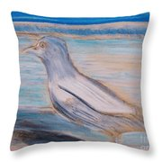 Seagull  On Seashore Throw Pillow