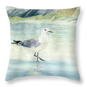 Seagull On The Beach Throw Pillow