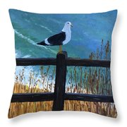 Seagull On The Fence Throw Pillow