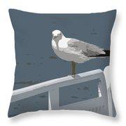 Seagull On The Rail Throw Pillow