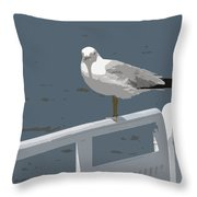Seagull On The Rail Throw Pillow