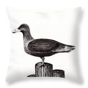 Seagull Portrait On Pier Piling E3 Throw Pillow