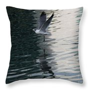 Seagull Reflection Over Blue Bay Throw Pillow