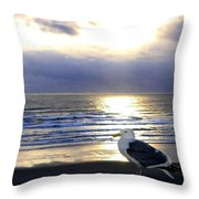 Seagull Sentinel Throw Pillow
