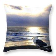 Seagull Sentinel Throw Pillow