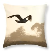 Seagull Sihlouette Throw Pillow by Marilyn Hunt