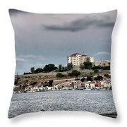 Seagull Under The Moon Light Of Mediterranean Sea Throw Pillow