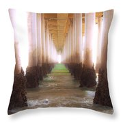 Seagull Under The Pier Throw Pillow