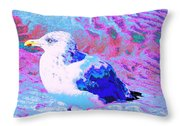 Cool And Colorful Gull Throw Pillow