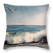 Seagull With Wave  Throw Pillow