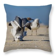 Seagull Yoga Throw Pillow by Beth Sawickie