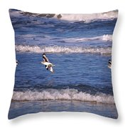 Seagulls Above The Seashore Throw Pillow