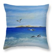 Seagulls By The Sea Throw Pillow
