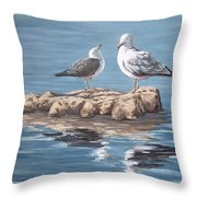 Seagulls In The Sea Throw Pillow