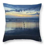 Seagulls On Beach At Sunset Throw Pillow