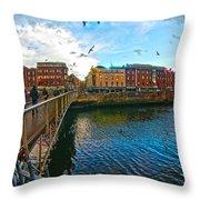 Seagulls Over Liffey Throw Pillow