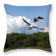 Seagulls Over Marsh Throw Pillow