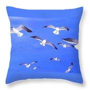 Seagulls Overhead Throw Pillow